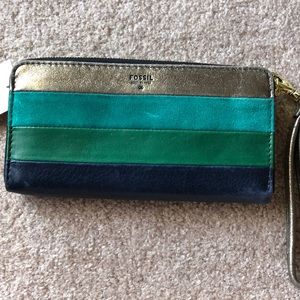 Fossil Sydney Leather Wallet NWT Green Stripes